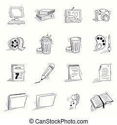 croquis, style, ensemble, bureau, icônes