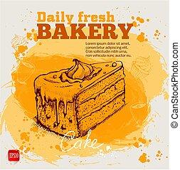 croquis, style, main, gâteau, dessiné, morceau, crème