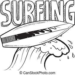 croquis, surfer