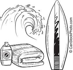 croquis, surfer, pignon plage