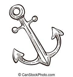 croquis, symbole, isolé, monochrome, bateau, marin, ancre