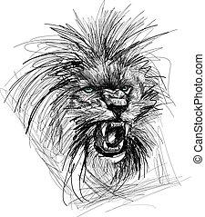 croquis, tête, lion