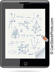 croquis, tablette, concept., -, formes, informatique, géométrique, mathématiques, expressions, e-apprendre