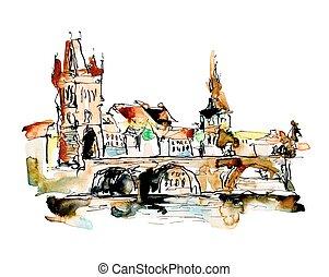croquis, tchèque, sommet, dessin, aquarelle, république,...