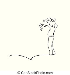 croquis, tenue, air, lignes, père, isolé, illustration, haut, vecteur, arrière-plan noir, main, dessiné, blanc, fils, heureux