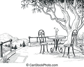croquis, terrasse, restaurant