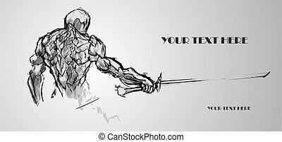 croquis, text., illustration, vecteur, warrior., endroit, ton