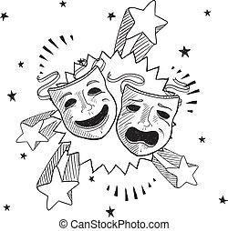 croquis, théâtre, pop, masques