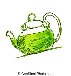croquis, thé, théière, vert, conception, ton