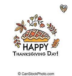 croquis, thanksgiving, tarte, jour, conception, ton