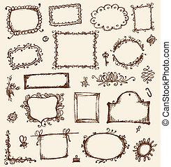 croquis, ton, cadres, conception, main, dessin