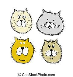croquis, ton, conception, chat, faces, chiens