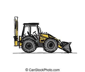 croquis, ton, conception, escavator