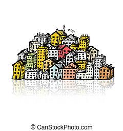 croquis, ton, fond, ville, conception