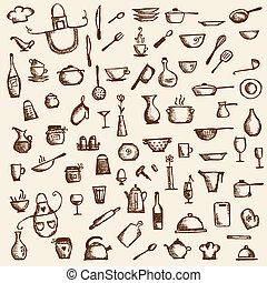croquis, ustensiles, ton, conception, dessin, cuisine