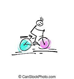 croquis, vélo, figure, griffonnage, crosse, humain, équitation, homme