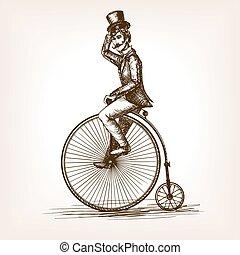 croquis, vélo, vendange, vecteur, retro, vieil homme