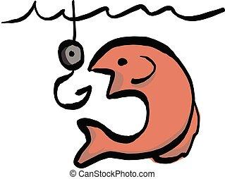 croquis, vecteur, appât, fish, lignes, isolé, illustration, main, aller, arrière-plan noir, dessiné, blanc