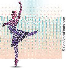 croquis, vecteur, ballerina., illustration, danse
