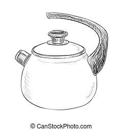 croquis, vecteur, bouilloire, illustration