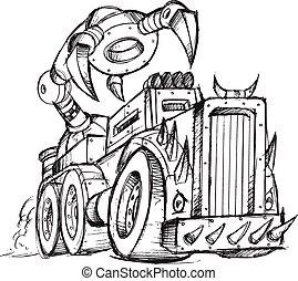 croquis, vecteur, camion, véhicule blindé