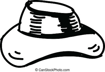 croquis, vecteur, chapeau, icône