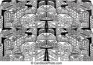 croquis, vecteur, city., résumé, illustration