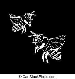 croquis, vecteur, contour, deux, miel, abeilles, noir