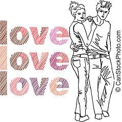 croquis, vecteur, couple., illustration