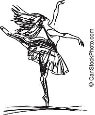 croquis, vecteur, dancer., ballet, illustration