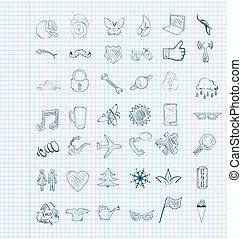 croquis, vecteur, ensemble, icônes