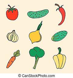 croquis, vecteur, ensemble, légumes