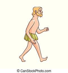 croquis, vecteur, homme cavernes, marche, loincloth