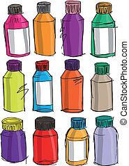 croquis, vecteur, illustration, coloré, bottles.