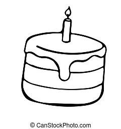 croquis, vecteur, illustration, griffonnage, tarte, isolé, style, gâteau