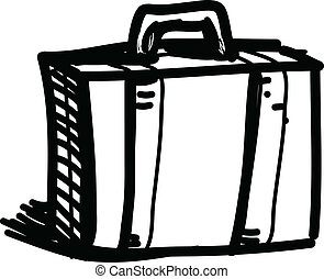 croquis, vecteur, illustration, voyage, valise