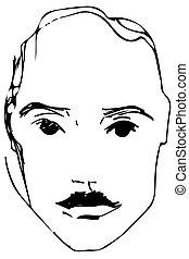 croquis, vecteur, jeune, moustache, homme