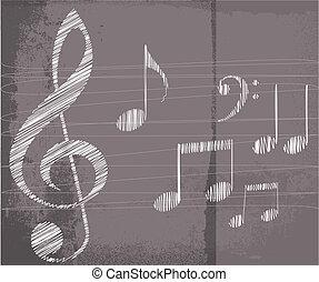 croquis, vecteur, musique, notes., illustration