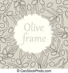 croquis, vecteur, olives, illustration