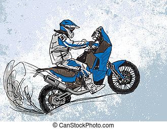 croquis, vecteur, résumé, illustration, biker.