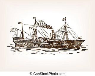 croquis, vecteur, style, illustration, navire vapeur