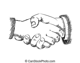 croquis, -vector, poignée main, illustration