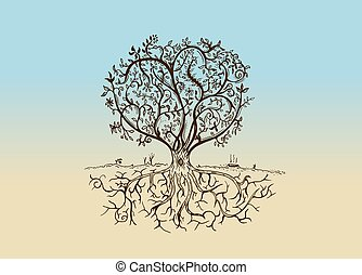 croquis, vendange, arbre, style, isolé, dessiné, main