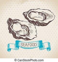 croquis, vendange, fruits mer, main, fond, mer, dessiné