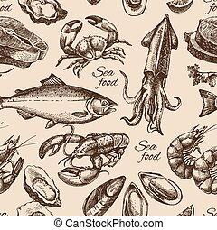 croquis, vendange, fruits mer, pattern., seamless, main, ...