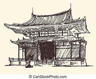 croquis, vendange, illustration, chine, repère, japon