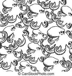 croquis, vendange, seamless, vecteur, poulpe, modèle