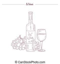 croquis, verre, main, réaliste, bouteille, dessiné, vin