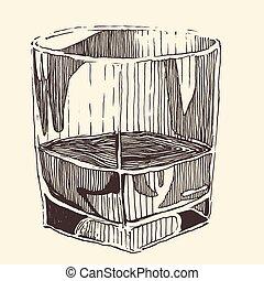 croquis, verre, vendange, illustration, whisky, gravé