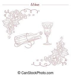 croquis, verre, vendange, main, réaliste, bouteille, dessiné, vin
